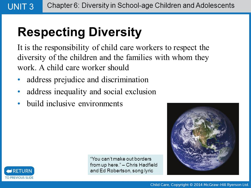 respecting the ethnic diversity Respecting diversity  ethnicity, religious belief  community that promotes and acts on positive values including the demonstration of respect and support for .