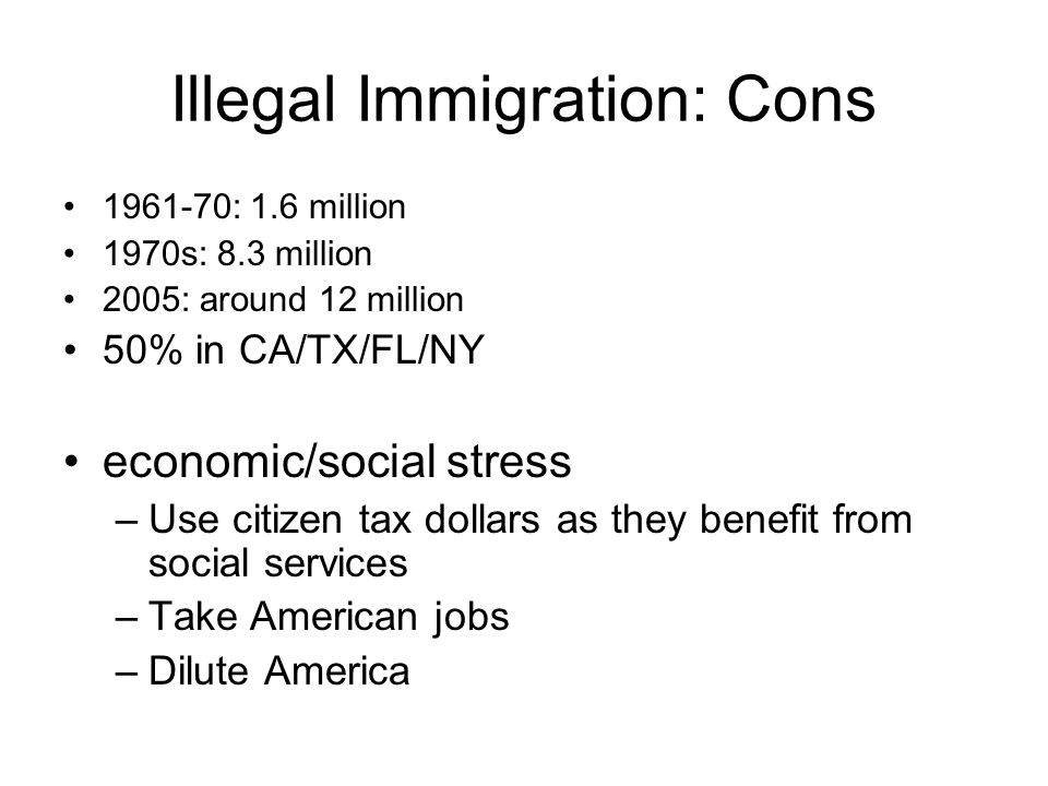 """immigration pros and cons Re """"assembly proposes $43b in new spending"""" (dec 14): from the u-t's article on california state democrat-proposed spending, we see that they want to spend $1 billion a year for health care coverage for illegal immigrants really while our homeless veterans have nowhere to go and live day to day."""