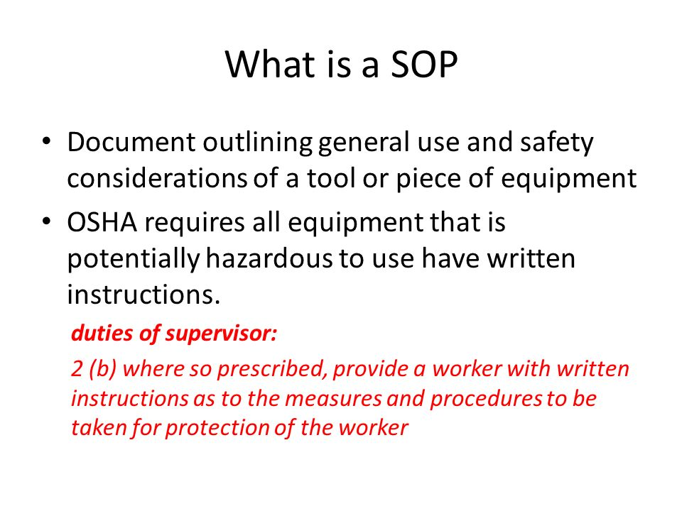 Standard Operating Procedures Project - Ppt Download