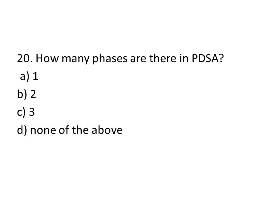 20. How many phases are there in PDSA