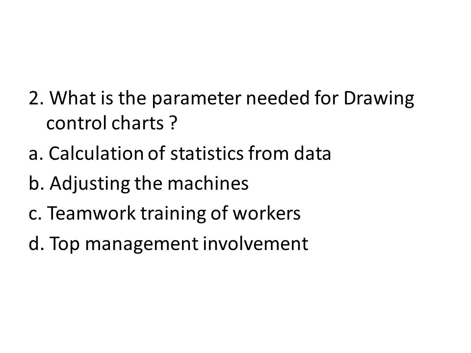 2. What is the parameter needed for Drawing control charts