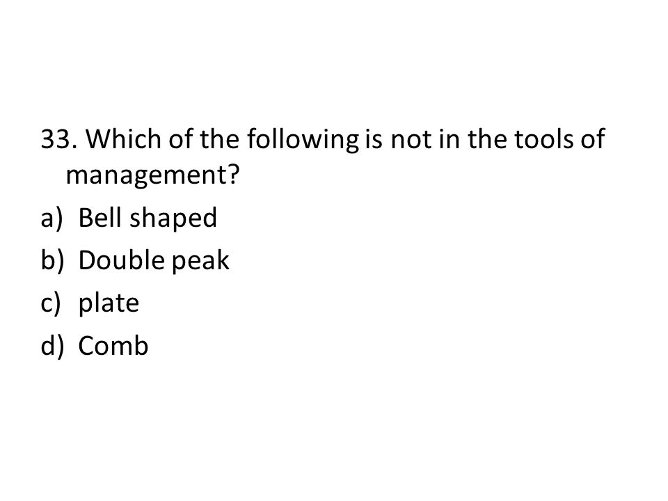 33. Which of the following is not in the tools of management