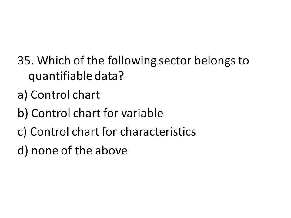 35. Which of the following sector belongs to quantifiable data