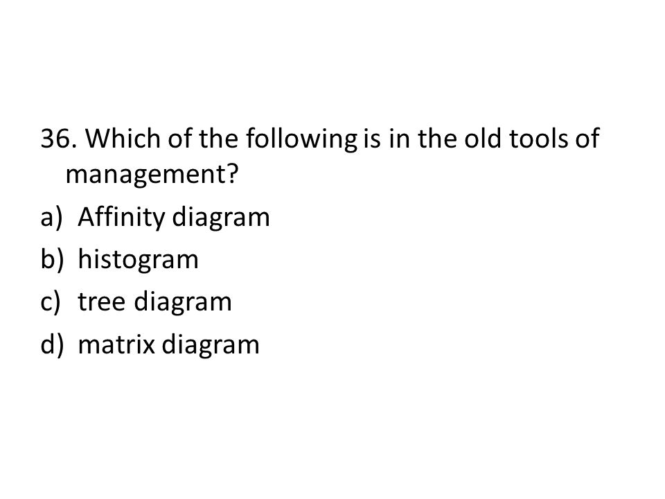 36. Which of the following is in the old tools of management