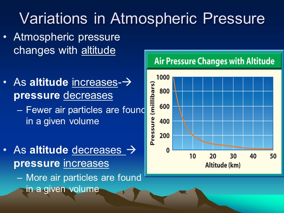 how pressure decreases with altitude essay Weather is influenced by a number of factors in this lesson, you will learn about three key variables that control weather and how they work.