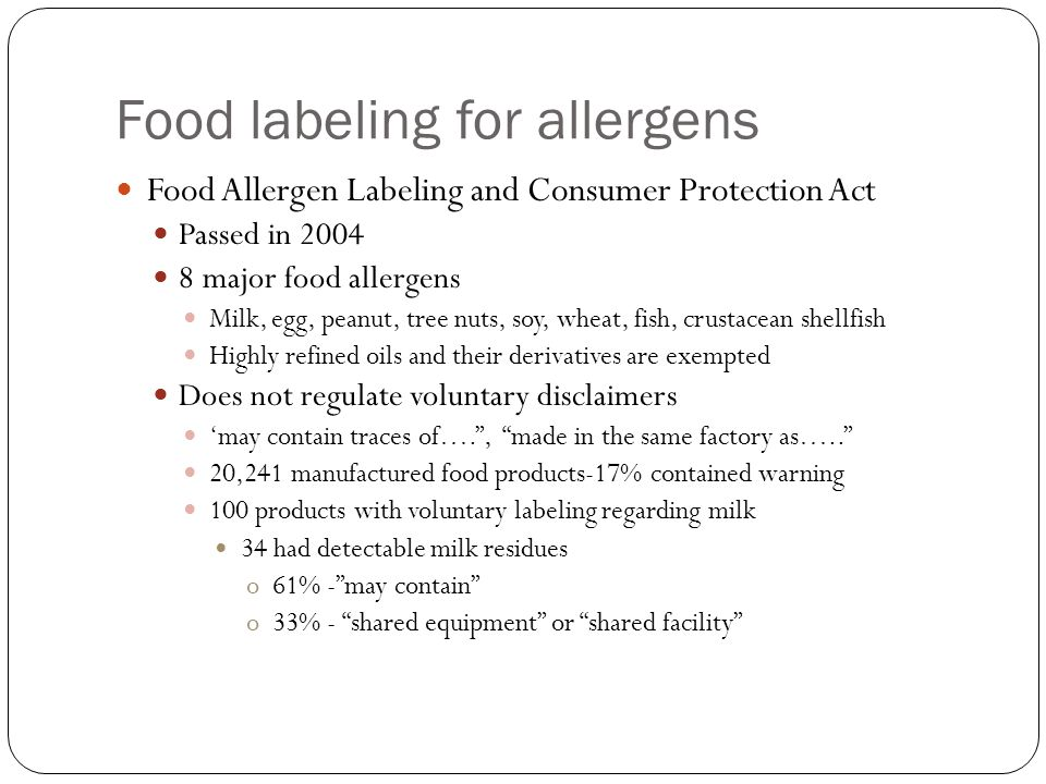 the food allergen act essay Allergies and food safety does the food allergens labeling and consumer protection act (falcpa) apply to meat, poultry, and egg products under.