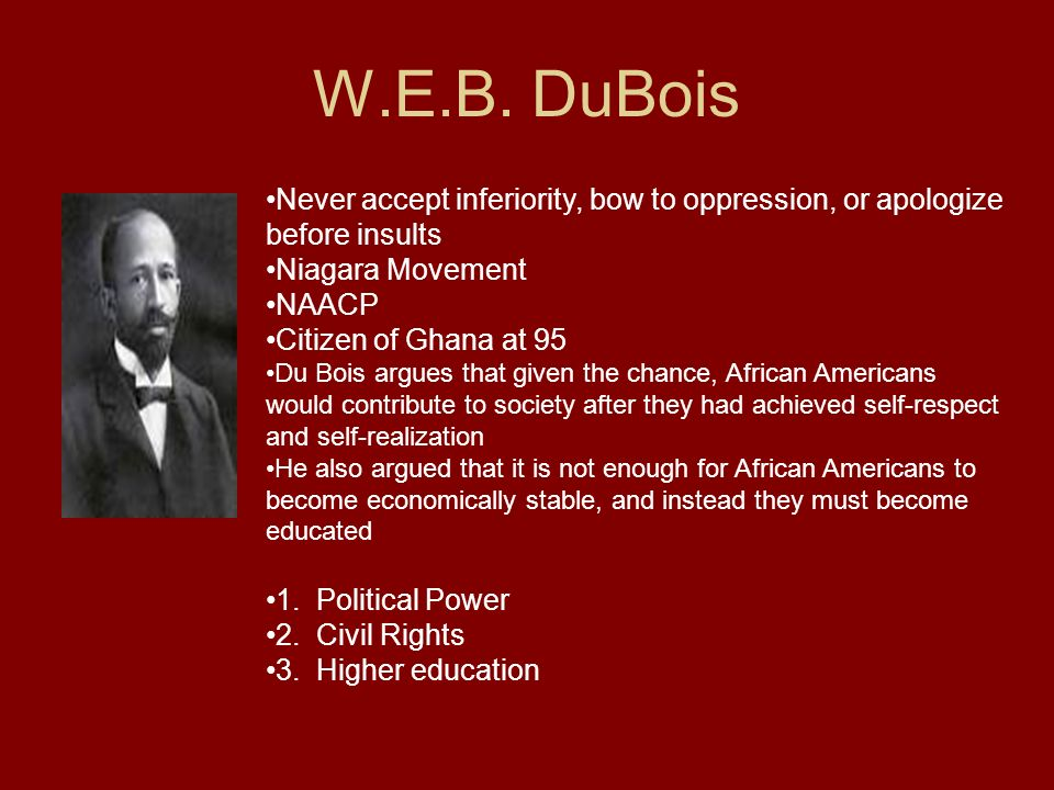 W.E.B. DuBois Never accept inferiority, bow to oppression, or apologize before insults. Niagara Movement.