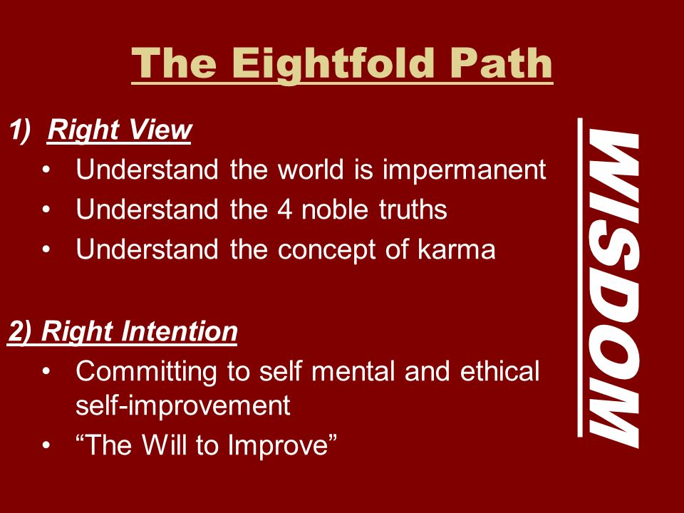WISDOM The Eightfold Path Right View