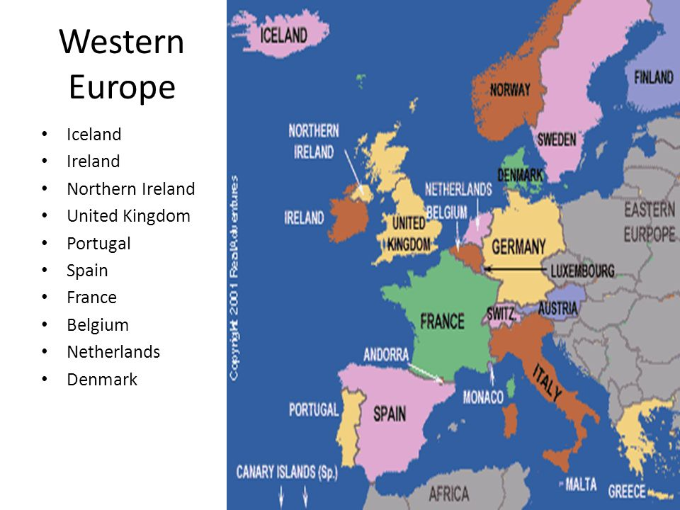 Western Europe Region Map Thefreebiedepot