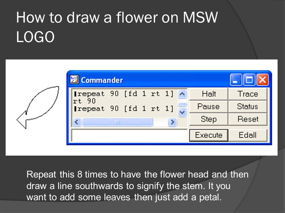 How to draw a flower on MSW LOGO