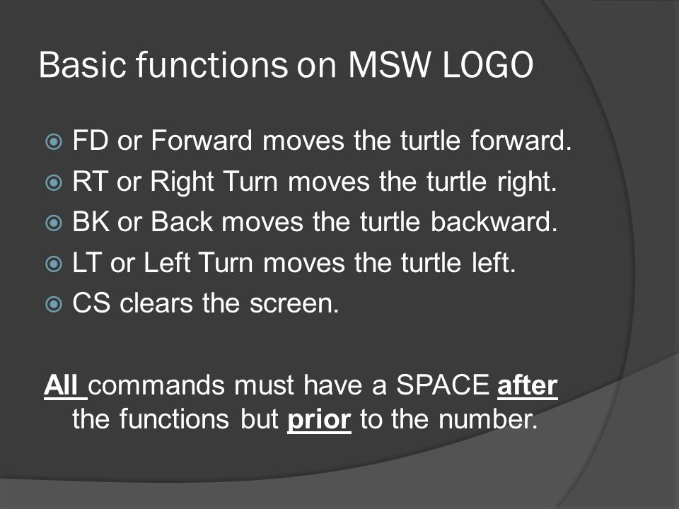 Basic functions on MSW LOGO