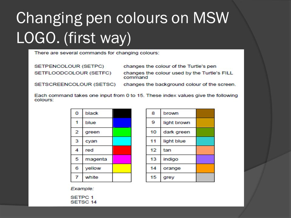 Changing pen colours on MSW LOGO. (first way)