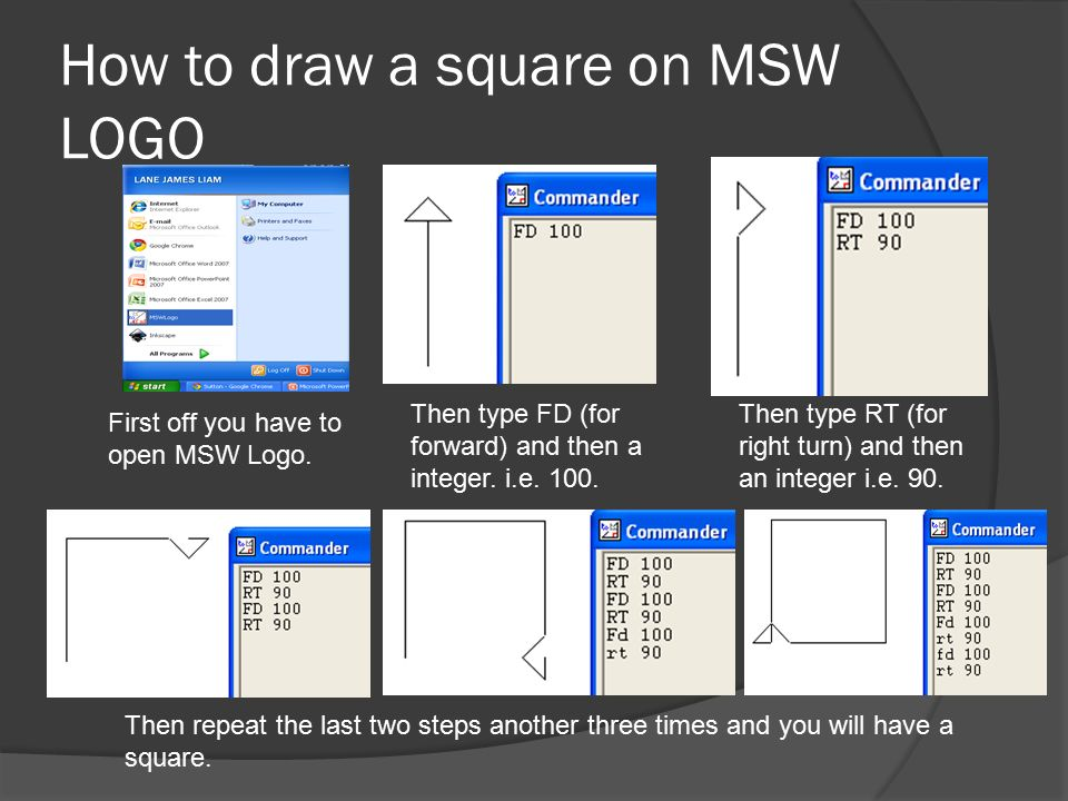How to draw a square on MSW LOGO