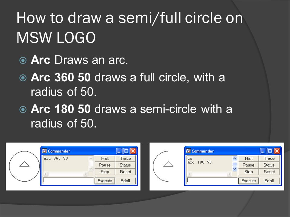How to draw a semi/full circle on MSW LOGO
