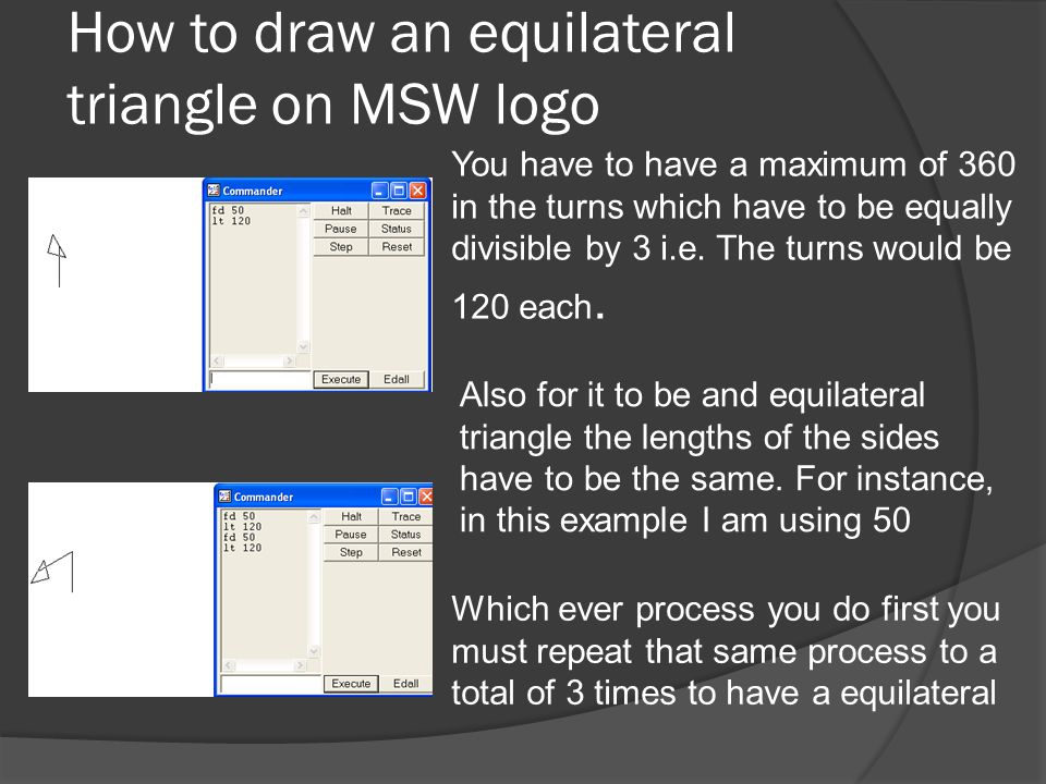 How to draw an equilateral triangle on MSW logo