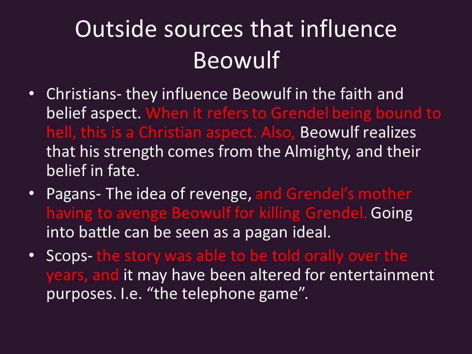 an analysis of the influences of christian and pagan ideals in the epic poem beowulf Beowulf summary, compiled by michael mcgoodwin  (other than seamus  heaney's), authorship of beowulf, christian influences in beowulf  beowulf is  the oldest surviving epic in british literature  hrothgar's minstrel recites a poem  about sigemund (the frankish hero, son of waels, uncle of fitela,.