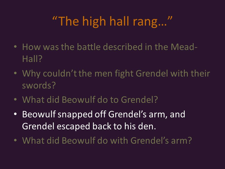 the description of grendel in the epic poem beowulf Grendel vs beowulf comparison essay sample  both grendel and beowulf live in the same area at the same time  the epic poem beowulf has a theme that applies to .
