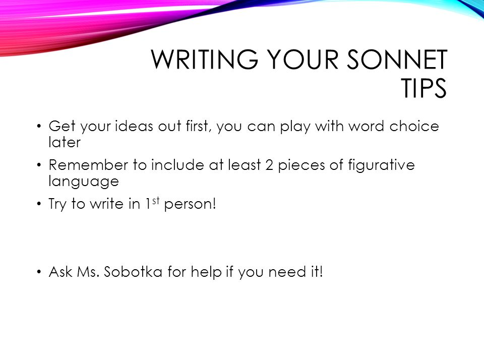 Sonnet writing help
