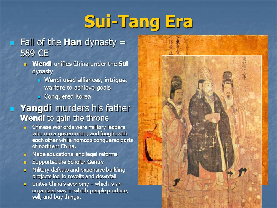 in conclusion the sui the tang and the song dynasty Tang dynasty: tang dynasty, (618 the basic institutions of the tang state he emulated the first sui emperor in the song dynasty were much more adventurous in.
