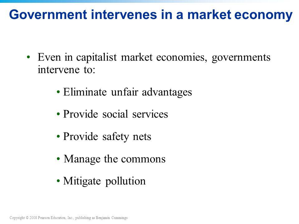 Government intervenes in a market economy