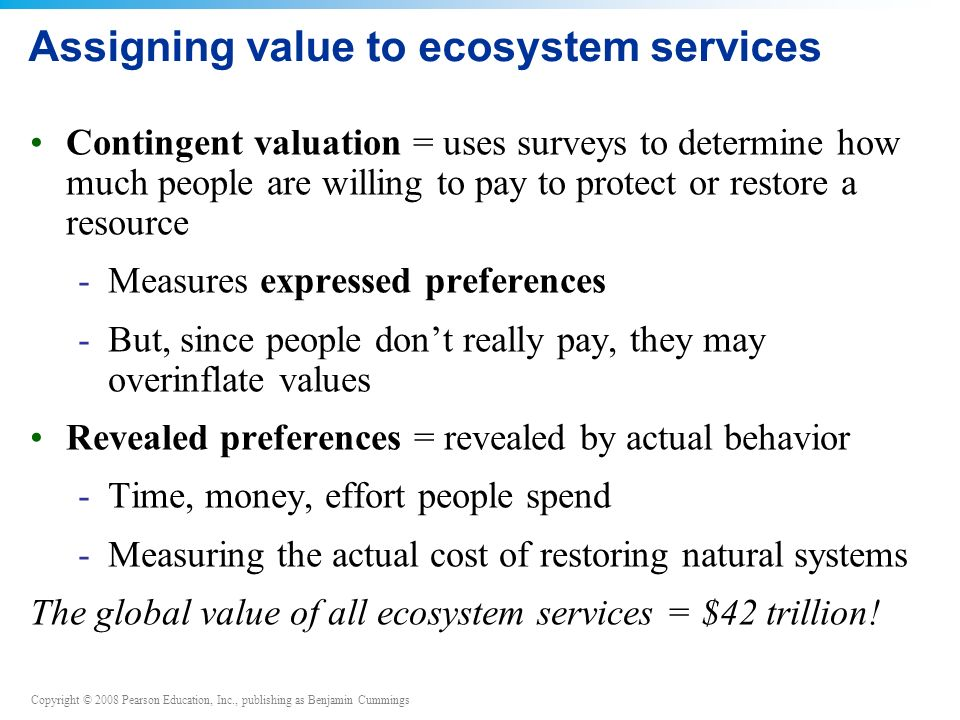 Assigning value to ecosystem services