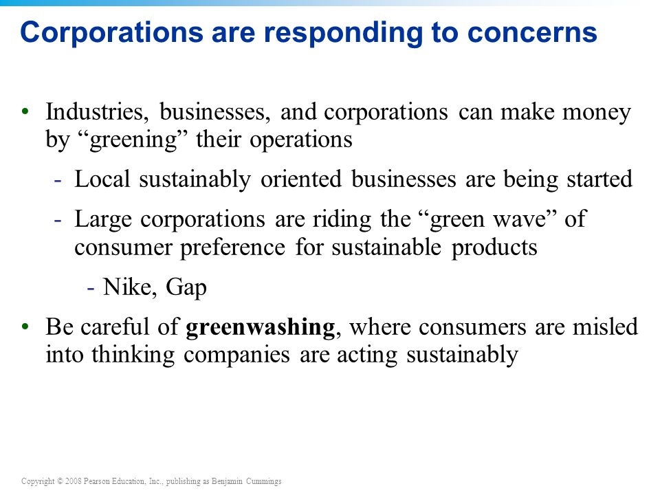 Corporations are responding to concerns