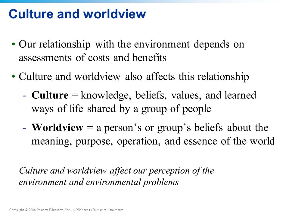 Culture and worldview Our relationship with the environment depends on assessments of costs and benefits.