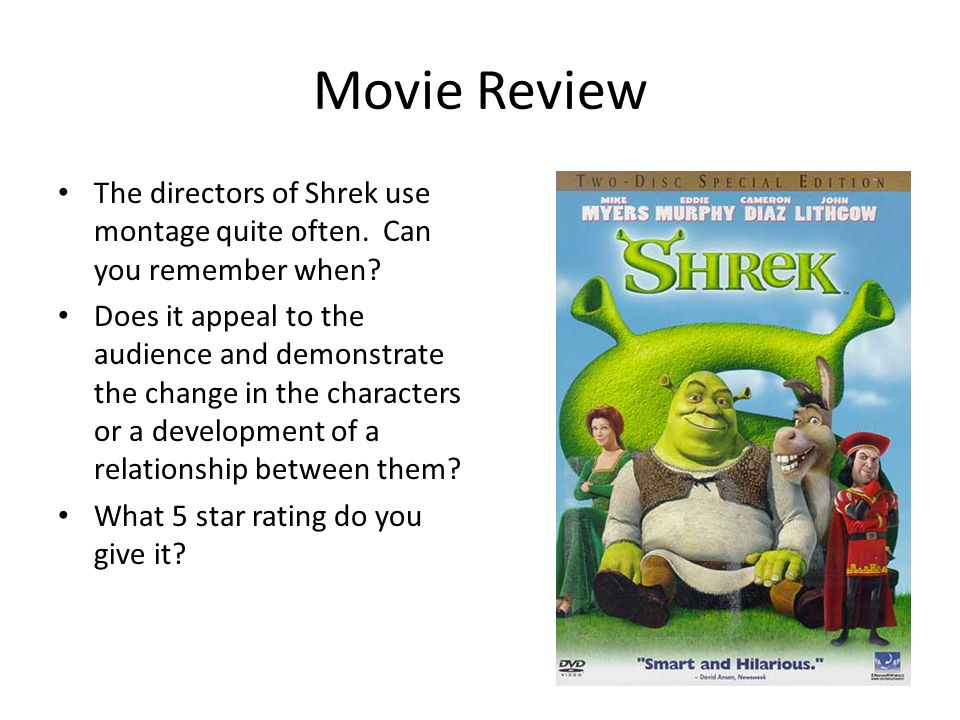 does director shrek convey morals audience One way the animators have ensured a broad audience appeal is through the   viewers as they like his humour, easiness at being himself and the morals he  i  am going to discuss the techniques that the director, rob cohen, uses to convey .