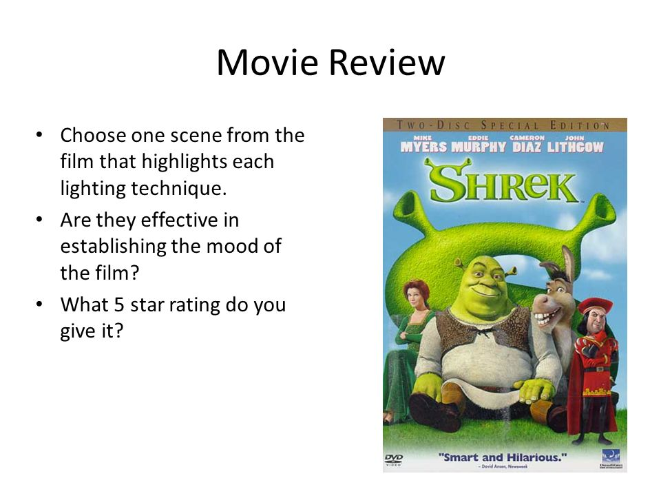 shrek movie review essay Shrek - movie review - for the healthy may 07, 2018, from   more film review and analysis essays:.