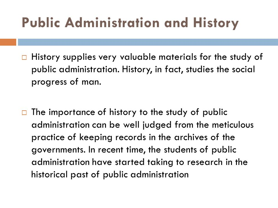 Public Administration and History