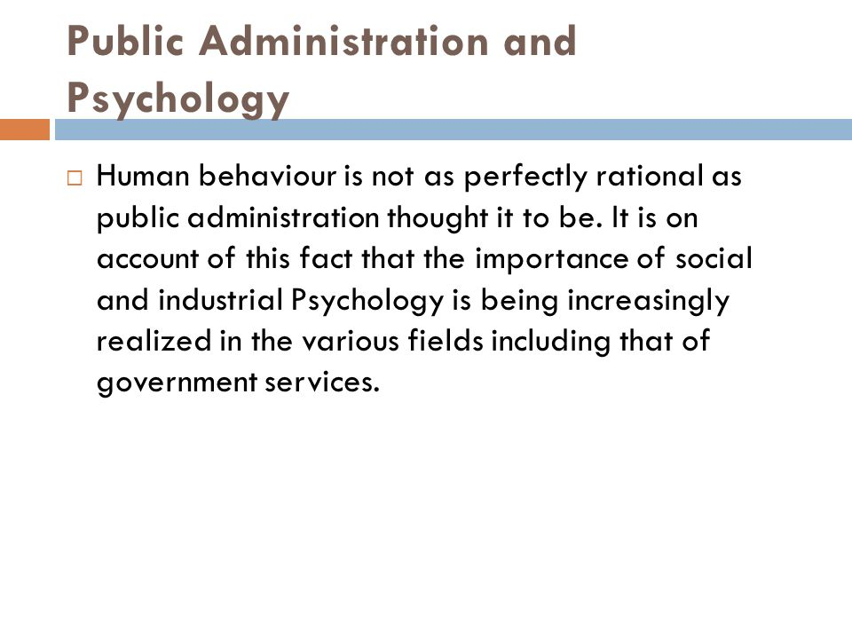 Public Administration and Psychology