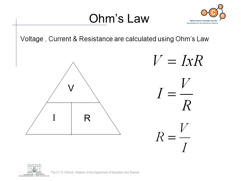 Ohm's Law Voltage , Current & Resistance are calculated using Ohm's Law V I R