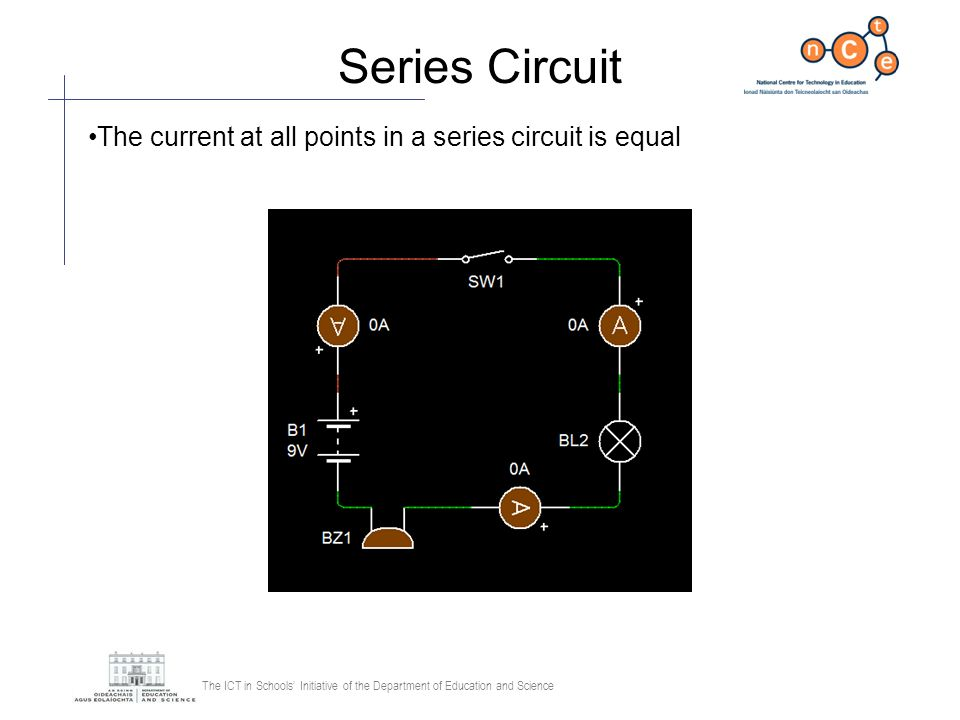 Series Circuit The current at all points in a series circuit is equal
