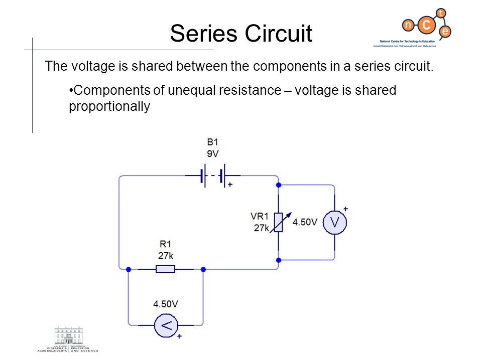 Series Circuit The voltage is shared between the components in a series circuit.