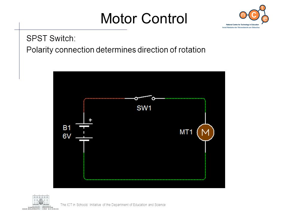 Motor Control SPST Switch: