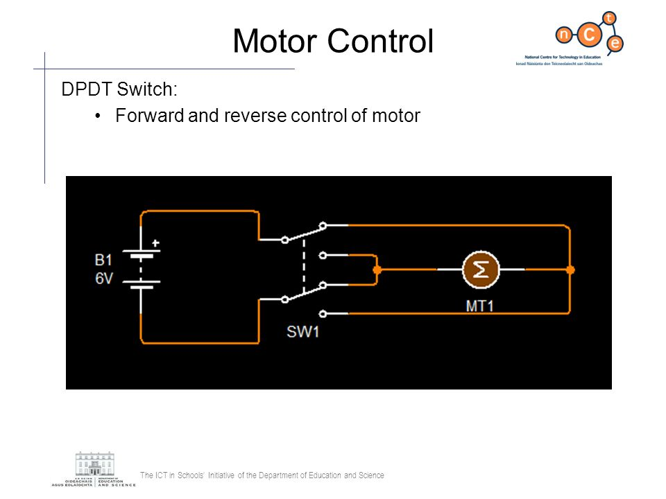 Motor Control DPDT Switch: Forward and reverse control of motor