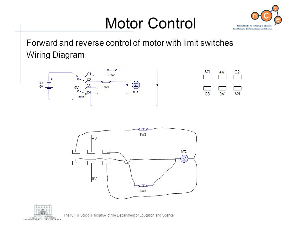 Motor Control Forward and reverse control of motor with limit switches