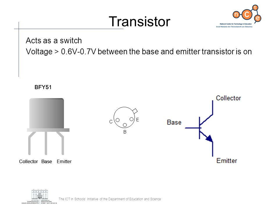 Transistor Acts as a switch
