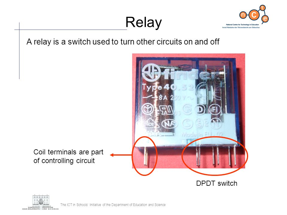 Relay A relay is a switch used to turn other circuits on and off