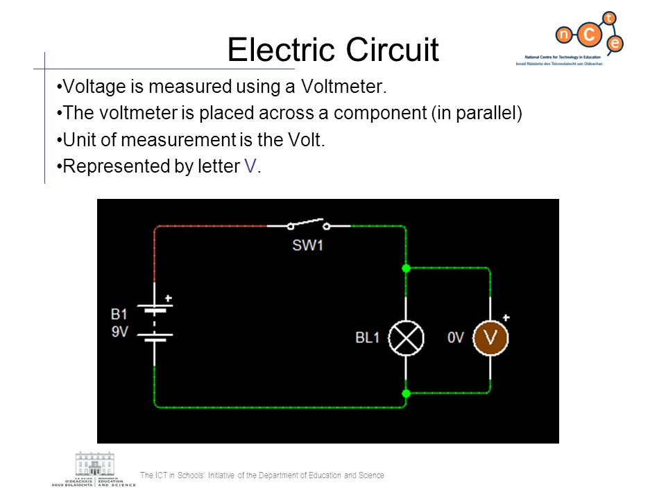 Electric Circuit Voltage is measured using a Voltmeter.