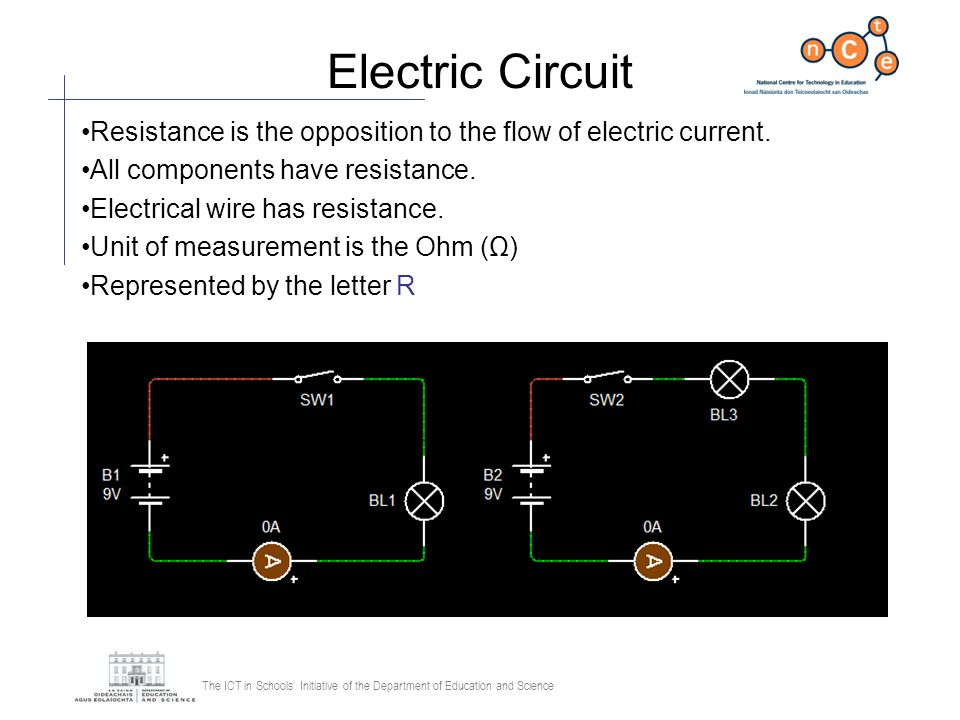 Electric Circuit Resistance is the opposition to the flow of electric current. All components have resistance.