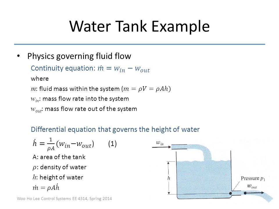 continuity equation physics. water tank example physics governing fluid flow continuity equation