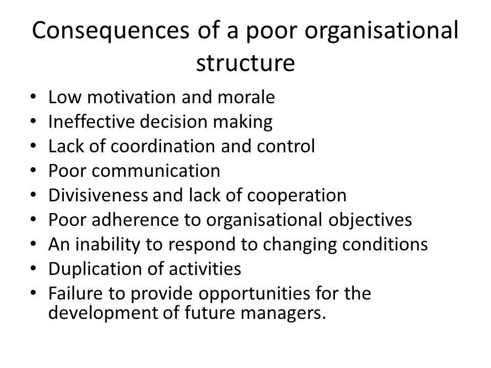 Consequences of a poor organisational structure