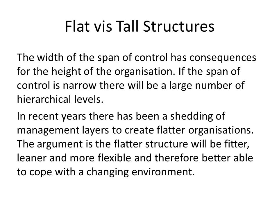Flat vis Tall Structures