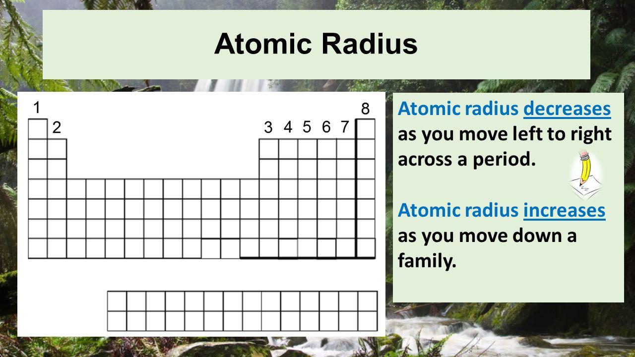 5 atomic radius atomic radius decreases as you move left to right - Periodic Table Left To Right Atomic Radius