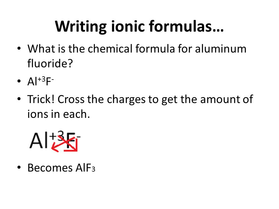 writing ionic formulas Write the chemical formulas for the following ionic compounds remember all ionic compounds must be neutral formula name writing formulas: ionic compounds.