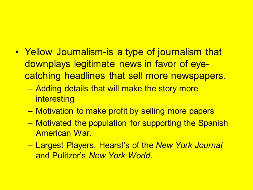 yellow journalism Yellow journalism news find breaking news, commentary, and archival information about yellow journalism from the latimes.