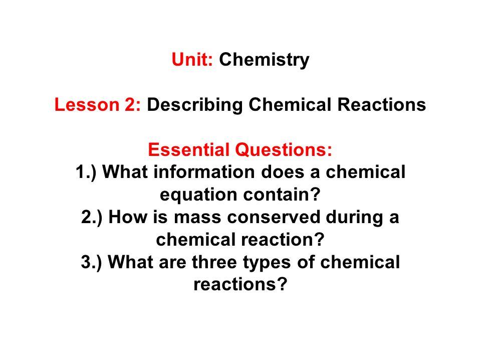 Unit: Chemistry Lesson 2: Describing Chemical Reactions