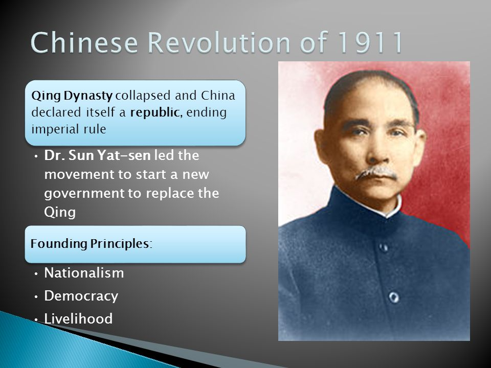 the role of sun yat sen in forming chinese government The chinese revolution of 1911  although the republic of china, sun yat-sen's dream  the guomindang was in the position to form a government.