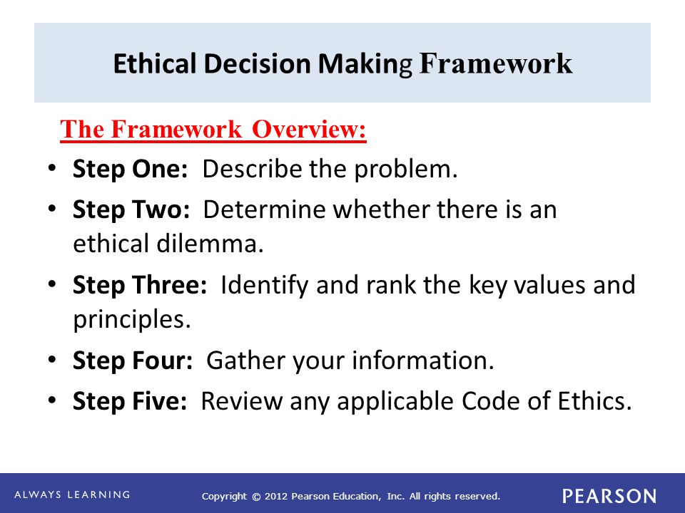 using a code of ethics to inform decision making Bccdc is guided by established and accepted ethical principles based on a core of  often concerned with individual decision making, public health ethics is  in these instances too, it is values that take priority in informing action and in.